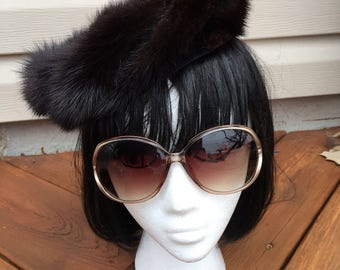 Vintage brown and black fur pillbox hat