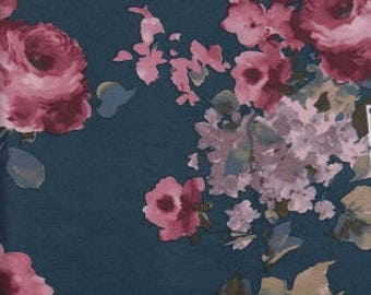 Teal Burgundy and Purple Floral Brushed Poly Spandex Knit, 1 yard