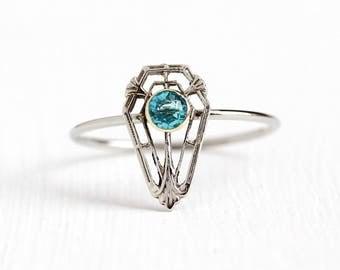 Vintage 10k White Gold Simulated Blue Zircon Stick Pin Conversion Ring - 1920s Size 8 Art Deco Filigree Shield Blue Glass Stone Fine Jewelry