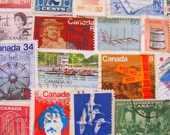 Oh Canada 50 Vintage Canadian Postage Stamps Vancouver Ontario Ottawa Quebec Toronto Manitoba Aboringinal Innuit Maple Leaf Canuck Philately