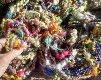 Handspun art yarn ANTICIPATION lock spun 105 yard skeins wool alpaca kid mohair silk sparkles bits of this n that thick over 9 ounces