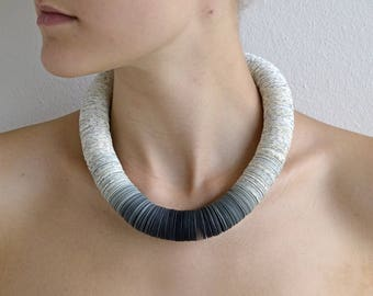 Statement Necklace made of book pages and papers: OMBRA S gray