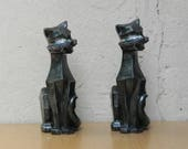 Pair Black Cubist Cat by Universal Statuary from 1960s