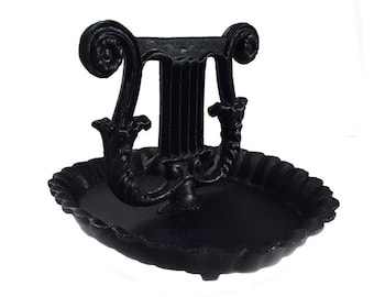 Vintage Cast Iron Boot Scraper with Mud Pan Harp Lyre Cast Iron Bootscraper Garden Decor