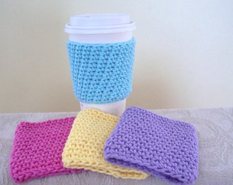 Crocheted Coffee Cozy - set of 4