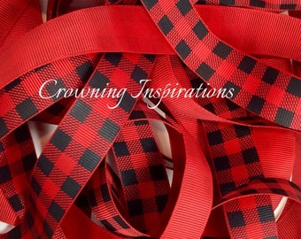 7/8 PLAID Red, Black Screenprint  US Designer Ribbon