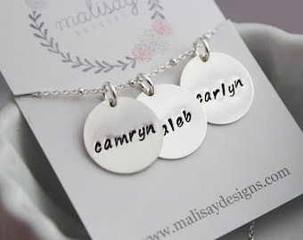 3 stamped names necklace | mom of three | push present for new mom | 3 kids names | three kids name tag necklace | custom name gift for her