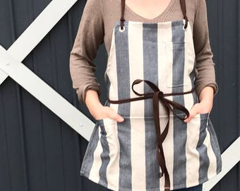 Linen Utility Apron Indigo Cream Stripe Made to Order allow 5 to 7 business days prior to shipping