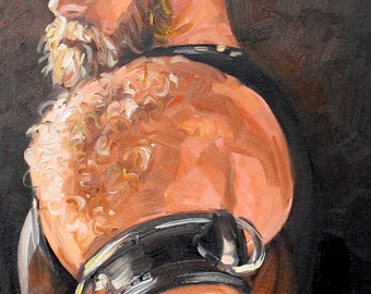 Ursine Leather Gladiator, 16x20 inches oil on canvas board by Kenney Mencher
