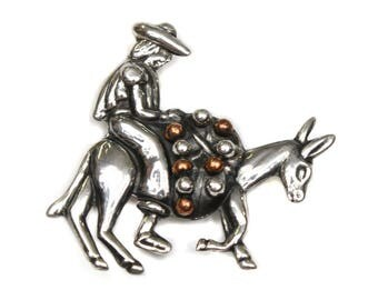 vintage 980 sterling silver TAXCO brooch • pack mule with rider & copper details