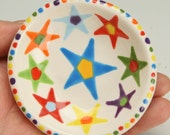 Stars Ring Dish, Small  Pottery Bowl, Jewelry Dish, Small Ceramic Dish, Trinket Holder, Tealight Candle Holder, Condiment, Nut Bowl