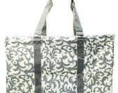 Large Collapsible Utility Tote with zipper top Grey and White damask design Great for Tailgating, Beach Graduation Gift These fold down flat