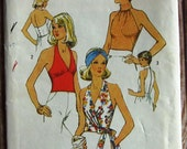 Vintage 1970s Misses Halter Tops and Top Size 14 Simplicity Pattern 6358 UNCUT