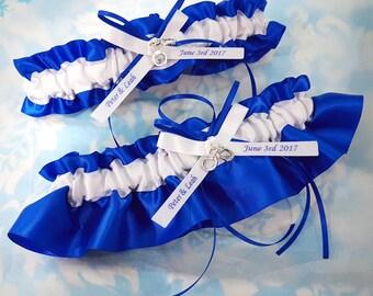 Police handcuffs wedding garter set -  personalized blue and white Wedding Garter set - monogrammed garter - royal blue and white garter set