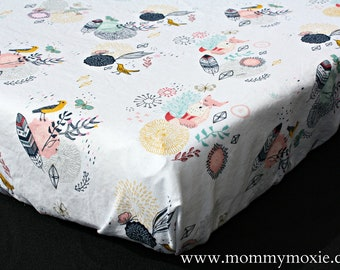 Fitted Crib Sheet/Changing Pad Cover/Mini Crib Sheet in Fox Bird Feather - Coral and Mint- Let the Adventure Begin - by Mommy Moxie on Etsy