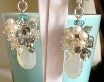 Ashira Faceted White Pearlized Chalcedony Elongated Pear Briolette, Fresh Water Pearls, Labradorite, Moonstone, Apatite Cluster Earrings