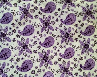 Cotton Fabric, 1/4 Yard, Purple and White Paisley Floral, Flower, Quilt, Quilting, Pillow, Home Decor, Crafts, Sewing, Gift, Easter