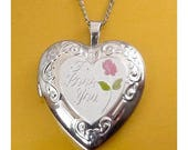 "Sterling Silver Heart Locket Pendant with Rose Enamel and I Love You Engraving, 18"" Necklace"