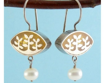 Sterling Silver Drop Earrings with Leafy Silver Over Resin Overlay & Pearl Dangles