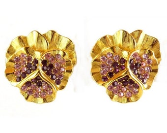 Gold Plated PANSY Earrings with Amethyst & Pink Rhinestone Pave