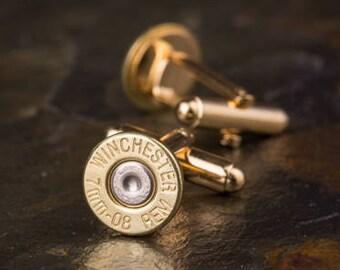 Bullet Cufflinks, 7mm-08 Brass Bullet Cuff Links, 7mm-08 Cufflinks, Brass Cufflinks, 7mm Cufflinks, Wedding Cufflinks, Grooms gift