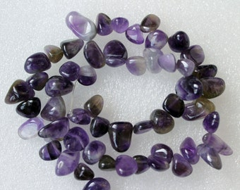 Genuine Amethyst Top Drilled Smooth Nuggets - 16 Inch Strand
