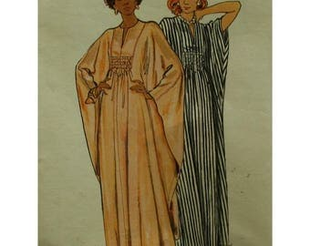 Gathered Front Caftan Pattern, Smocking, Front Slit Neck, Wide Sleeves, Front Yoke, Long,  1970s, Butterick No. 3172 One Size