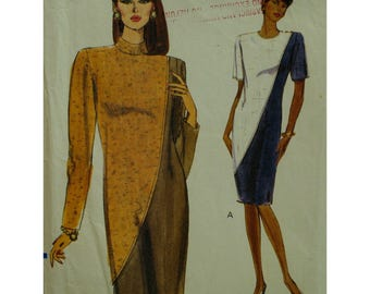 """Straight Dress Pttern, Color Block, High/Jewel Neck, Long/Short Sleeves, Loose Fitting, Vogue No. 7882 UNCUT Size 14 16 18(Bust 36-40"""")"""