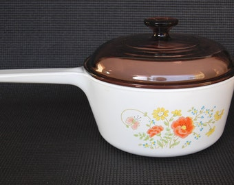 Vintage Corning Ware Wildflower 2.5 Quart Rangetoppers with Brown Pyrex Lid N-2 1/2-B for Stove Top, Oven and Broiler Use