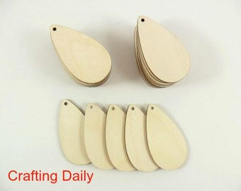 "Wood Teardrop Earring Pendant 2 1/2"" x 1 3/8"" x 1/8"" Blanks Laser Cut Wood Jewelry Shapes - 24 Pieces"