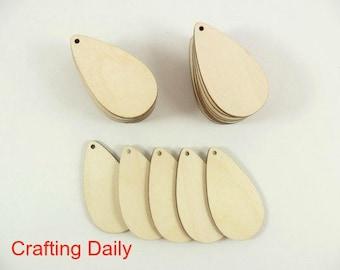 """Wood Teardrop Earring Pendant 2 1/2"""" x 1 3/8"""" x 1/8"""" Blanks Laser Cut Wood Jewelry Shapes - 25 Pieces"""