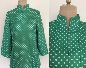 SALE 1970's Green Polka Dot Polyester Top Vintage Shirt Size Medium by Maeberry Vintage