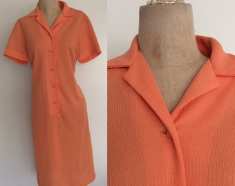 1970's Orange Sherbet Shift Dress