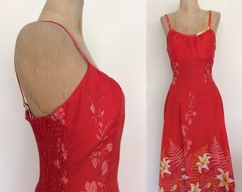 1970's Red Floral Print Hawaiian Vintage Sun Dress VLV Tiki Size Small Medium by MaeberryVintage