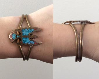 20% OFF 1970's Brass, Turquoise, & Coral Phoenix Bracelet with Patina