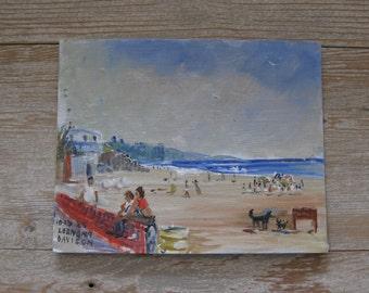 Vintage oil painting, seascape, ocean, nautical, beach scene, beachy decor, blues, 1980's
