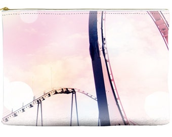 Roller Coaster Bag - Makeup Pouch - Accessory Bag - Cosmetic Bag - Pink Bag - Zipper Pouch - Purse Organizer - Make up Bag - Pencil Case