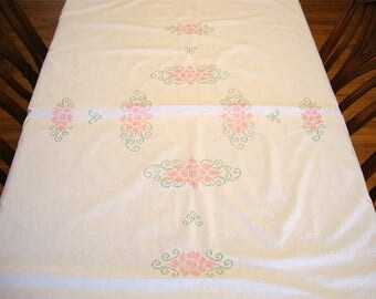 Vintage Embroidered Pink Flowers Tablecloth with Crocheted Trim 53 x 78