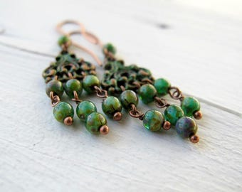Green Patina Chandelier Earrings,  Long Bohemian Chandelier Dangles,  Czech Picasso Glass Jewellery, Boho Chic Festival Fashion