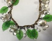 Vintage Glass Leaves Beads Bracelet Grapes