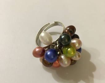 Pearl Ring, Cluster Ring, Adjustable Ring, Multicolor Ring, White Ring, Gemstone Ring, Gift for Her, Natural Pearl, Pearl Jewelry