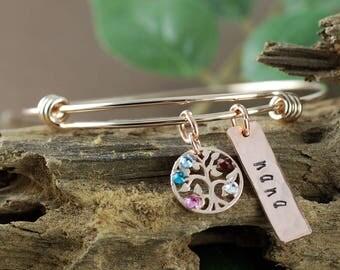Rose Gold Family Tree Bangle Bracelet, Personalized Birthstone Bracelet, Grandmother Bracelet, Gift for Grandma, Mothers Day Gift