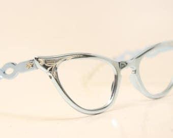 Small Unused Blue Aluminum cat eye glasses  vintage cateye eyeglasses frames