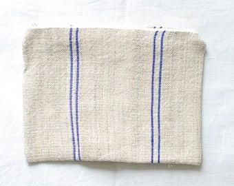 VINTAGE Grainsack Zippered Pouch - Double Blue Stripes