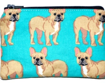 French Bulldog Coin Purse Zipper Pouch Wallet ID Card Holder Zippered Pouch Change Purse Gift Idea