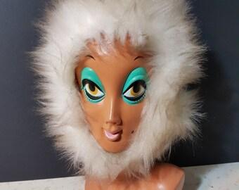 Vintage 1960s Shearling Lambskin Warm Fur Hood Fur Hat