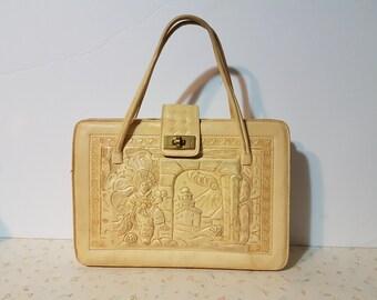 Vintage Large Tooled Leather Purse Huge Boho Retro 1970's Tooled Leather Handbag White Mayan