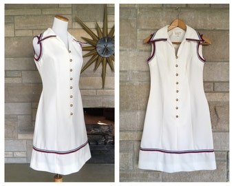 1960s Preppy Dress * Red White Blue * Vintage Nautical Frock * Womens Size Small