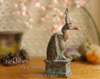 Nekhbet - Handcrafted Egyptian Vulture Votive Statue - Patron of Upper Egypt - Protector of Mothers and Children - Aged CopperPatina Finish