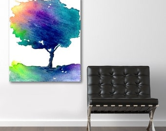 Watercolor Painting - Rainbow Hue Tree - Modern Contemporary Art Print